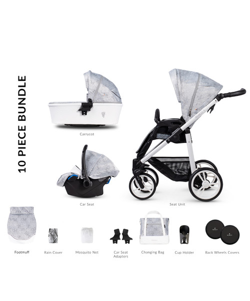 Venicci 3 in 1 travel system Pure 2.0 Cloud Travel System (10 Piece Bundle)