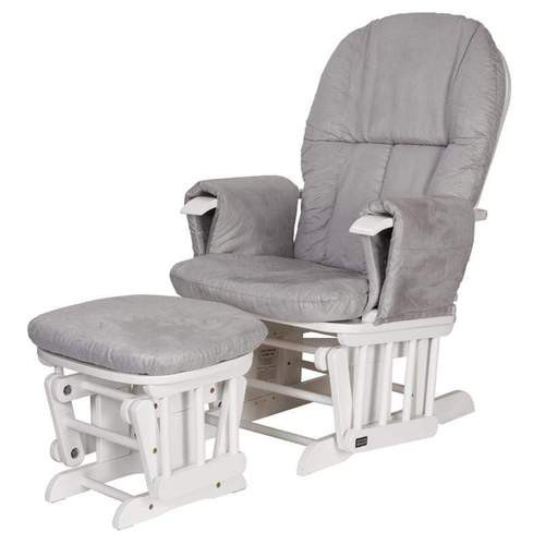 Tutti Bambini Reclining Glider Chair and Stool White Grey