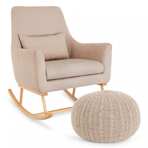 Tutti Bambini Oscar Rocking Chair and Pouffe Set - Stone