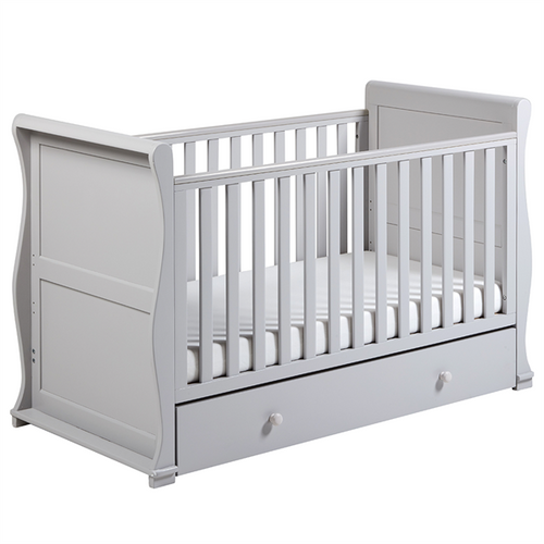 East Coast Alaska Sleigh Cotbed with Drawer - Grey