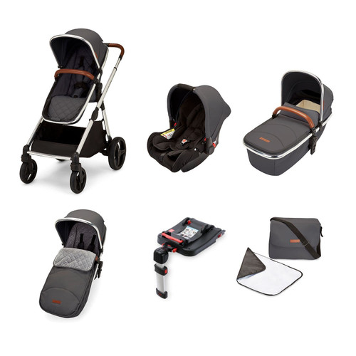 Ickle Bubba Eclipse Travel System with Galaxy Car Seat and Isofix Base - Chrome / Graphite Grey / Tan