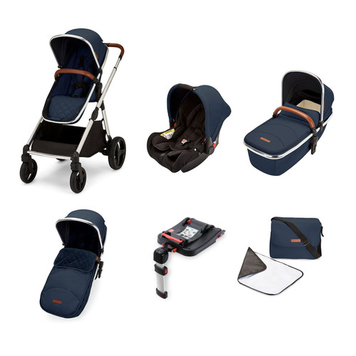 BUY Ickle Bubba Eclipse Travel System with Galaxy Car Seat and Isofix Base - Chrome / Midnight Blue / Tan