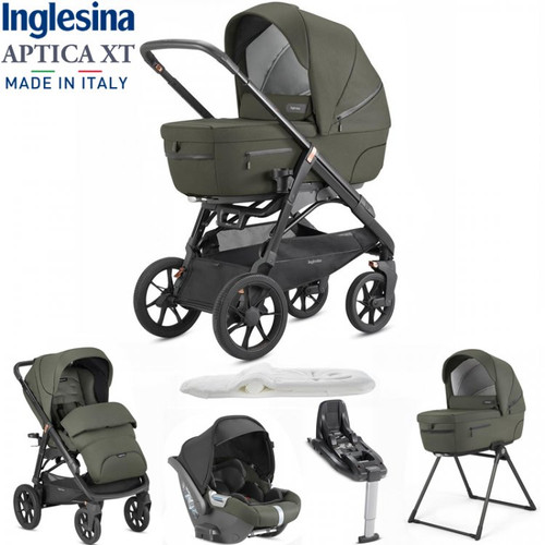 Inglesina Aptica XT 5 Piece i-Size 3 in 1 Travel System + FREE Changing Bag, Sequoia Green