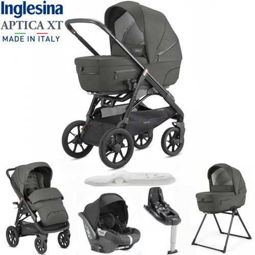Inglesina Aptica XT 5 Piece i-Size 3 in 1 Travel System + FREE Changing Bag, Charcoal Grey