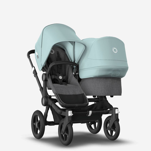 Bugaboo Donkey 3 Duo carrycot and seat pushchair Grey Melange /Black chassis with Vapour Blue canopy 2021