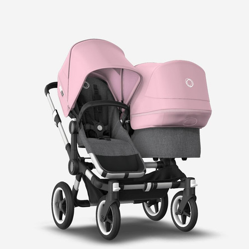 Bugaboo Donkey 3 Duo carrycot and seat pushchair Grey Melange /Aluminium chassis with Pink canopy 2021