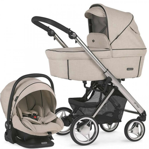 Bebecar Pack Prow Complete Travel System Pack + Lie Flat Car Seat & Raincover, Beige (105) 2021