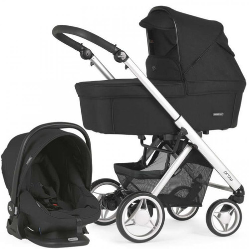 Bebecar Pack Prow Complete Travel System Pack + Lie Flat Car Seat & Raincover, Black (105) 2021