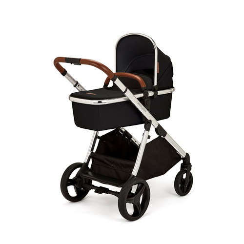 Ickle Bubba Eclipse Travel System with Galaxy Car Seat and Isofix Base - Chrome / Jet Black / Tan