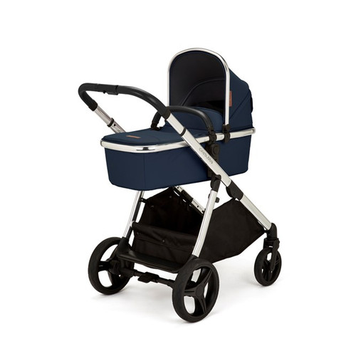 Eclipse i-Size Travel System with Mercury Car Seat and Isofix Base Chrome with Midnight Blue