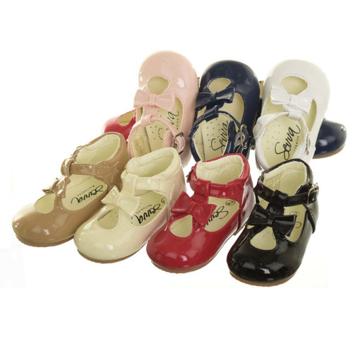 SEVVA Baby Infant Girls Spanish Style Patent Walking Shoes Bow