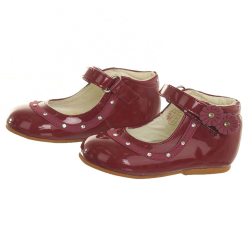 Girls patent shoes with diamante and flowers