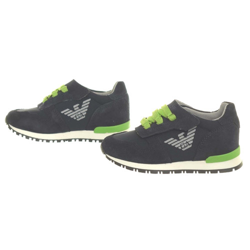 Armani Junior Navy sneakers with lime laces and strap