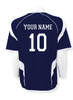 USA Soccer jersey in navy/white, back view with optional name and number