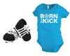 Born To Kick baby onesie in turquoise, with crochet soccer cleat booties