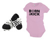 Born To Kick baby onesie in pink, with crochet soccer cleat booties