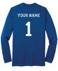 Diadora long-sleeve Italia soccer jersey, in royal, with optional name, number on back