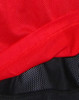 Red/black reversible jersey product closeup.