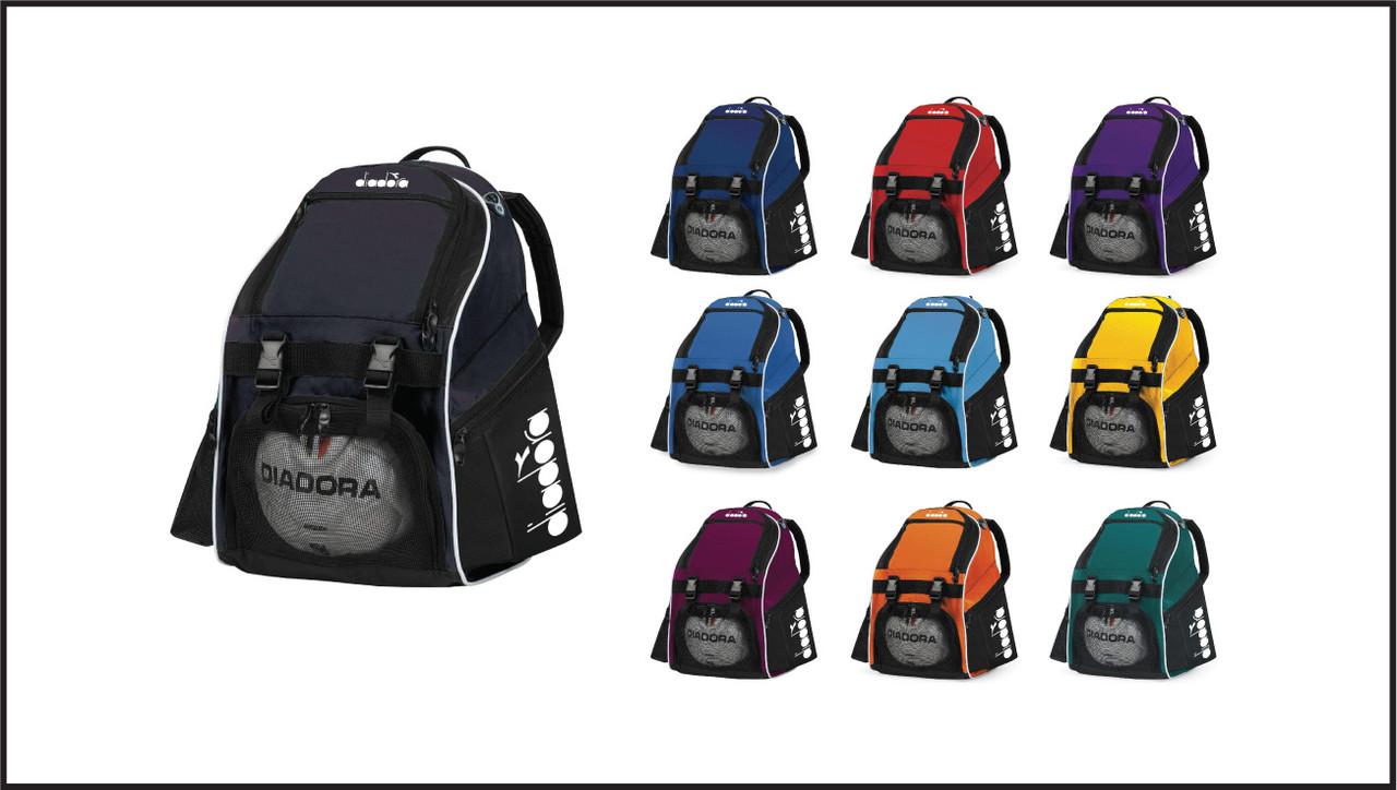 Diadora Squadra II soccer team backpacks by Code Four Athletics
