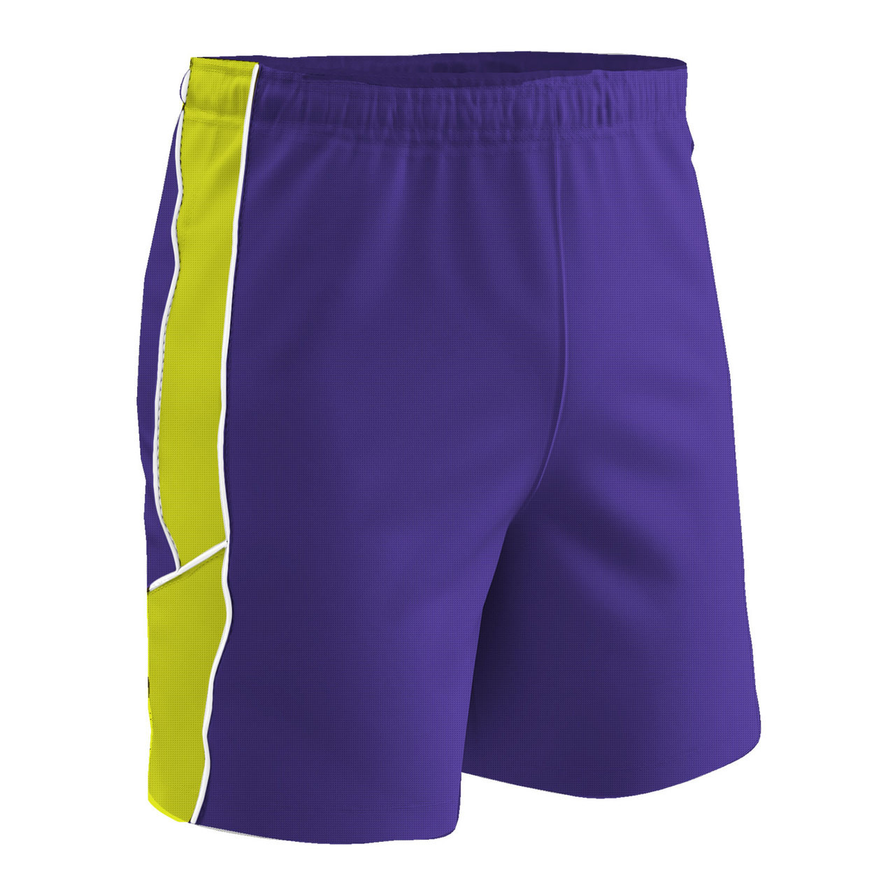 60abb9192 Champro Sports Header soccer shorts in purple optic yellow