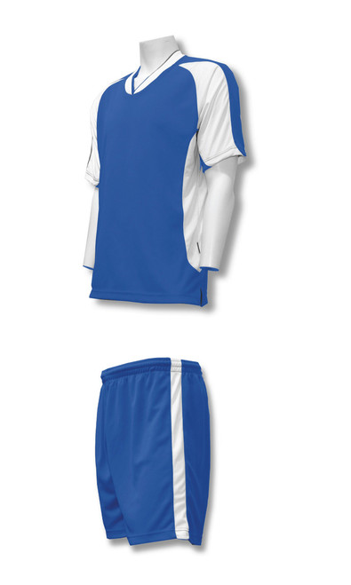 Sweeper soccer uniform kit in royal/white