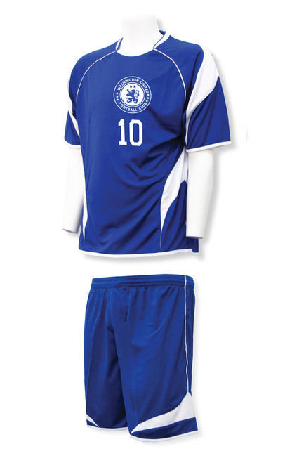 Velocity soccer uniform in royal/white
