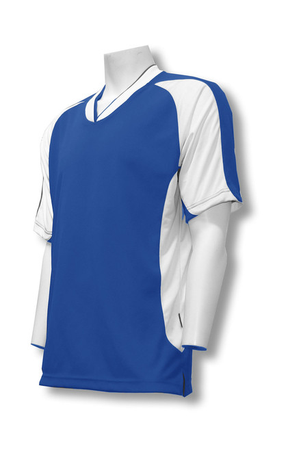 Sweeper soccer jersey in royal/white