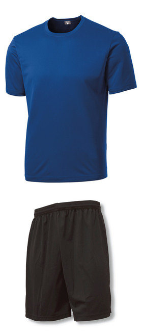 C4 Soccer Training Uniform Kit with royal jersey, black shorts