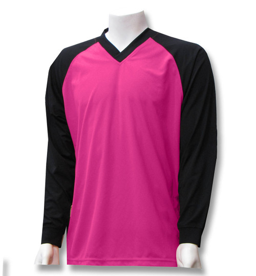 Colorblock soccer goalkeeper jersey in raspberry