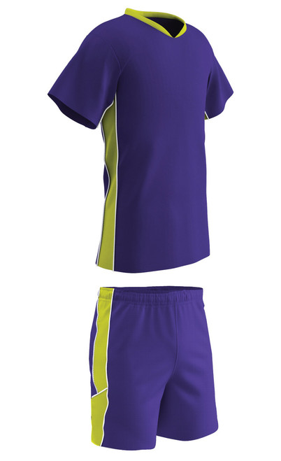 Champro Sports Header soccer uniform kit in purple/optic yellow