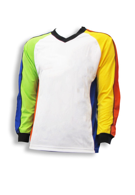 Multicolor long-sleeve soccer goalie jersey by Code Four Athletics - front view