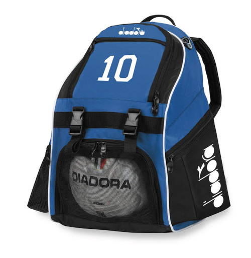 Diadora Squadra II backpack with number or initials, in royal
