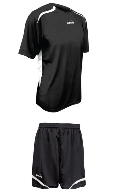 Diadora Stadio soccer uniform kit, in black