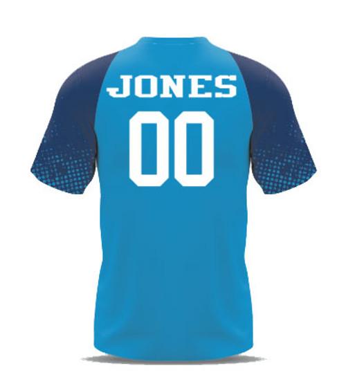 64dea1ccb ... Custom Sublimated Soccer Goalkeeper Jersey back- Light Blue Navy ...