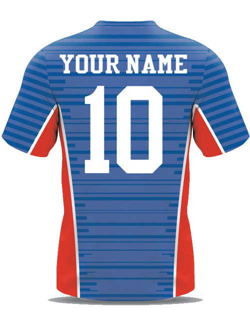 a97dbe27e ... Custom Sublimated Soccer Goalie Jersey example - royal red white back
