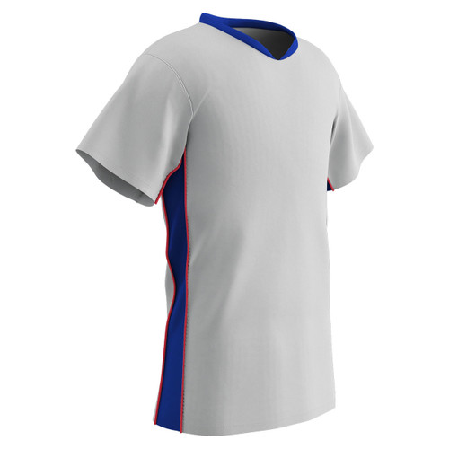 37cb986e2 ... Champro Sports Header soccer jersey in white royal red ...