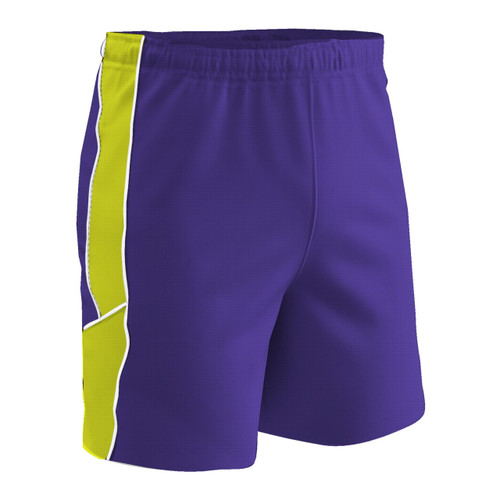 Champro Sports Header soccer shorts in purple/optic yellow