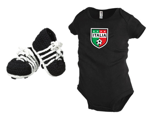 Italy soccer baby onepiece and soccer booties gift set, with black onepiece, by Code Four Athletics