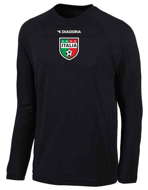 Diadora Italia long-sleeve soccer jersey in black