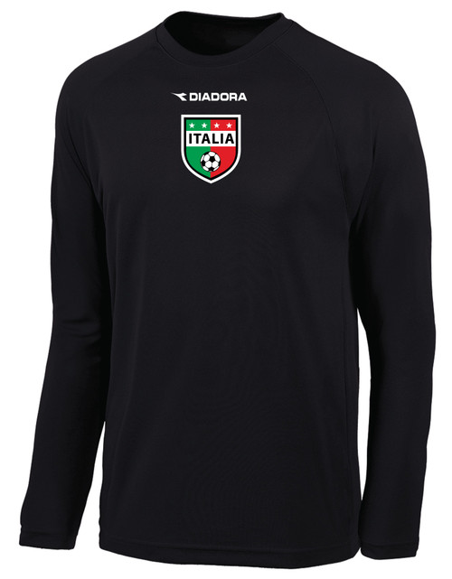 Diadora Italia long-sleeve soccer jersey in black