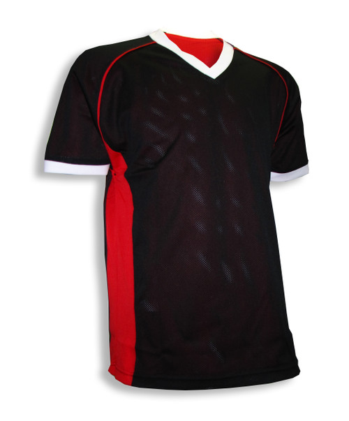 Red/black reversible jersey, black side out.