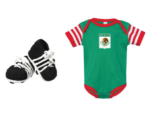 Mexico soccer baby onepiece in kelly/red/white with baby soccer cleats