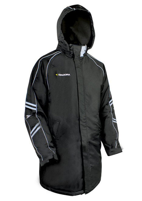 Diadora Calcio Soccer Winter Bench Coat, in black