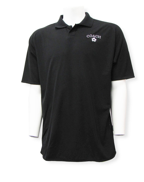 Soccer Coach Polo with embroidery, in black