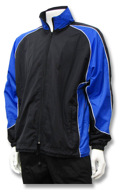Viper soccer warm-up jacket in black/royal