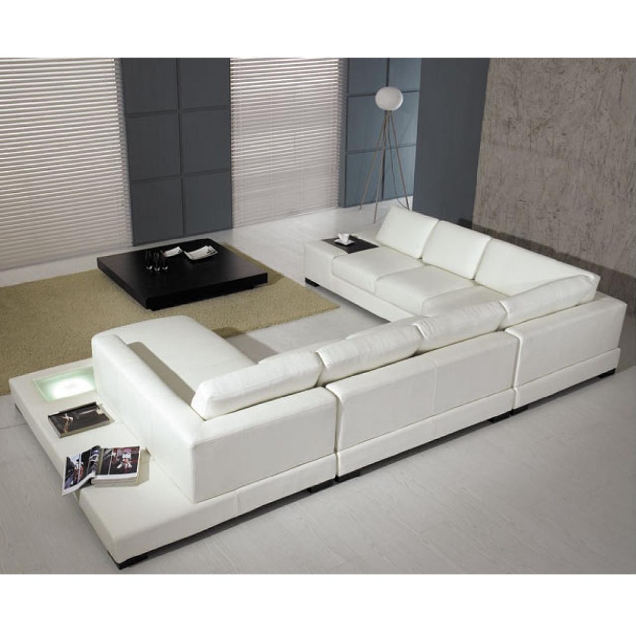 White Leather Sectional Sofa divani casa t35 - white leather sectional sofa with light
