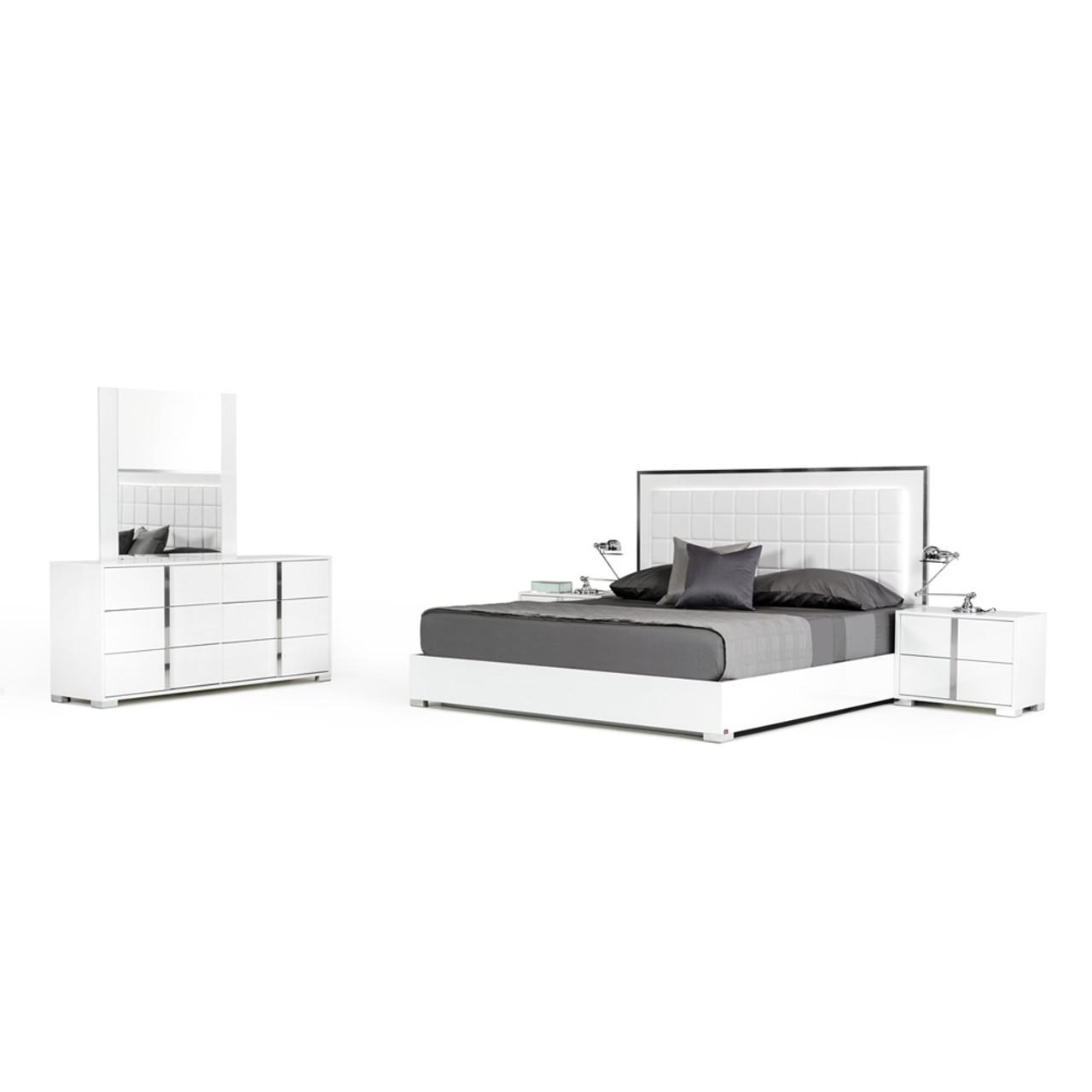 Modrest San Marino Modern White Queen Size Bedroom Set - Lounge LA