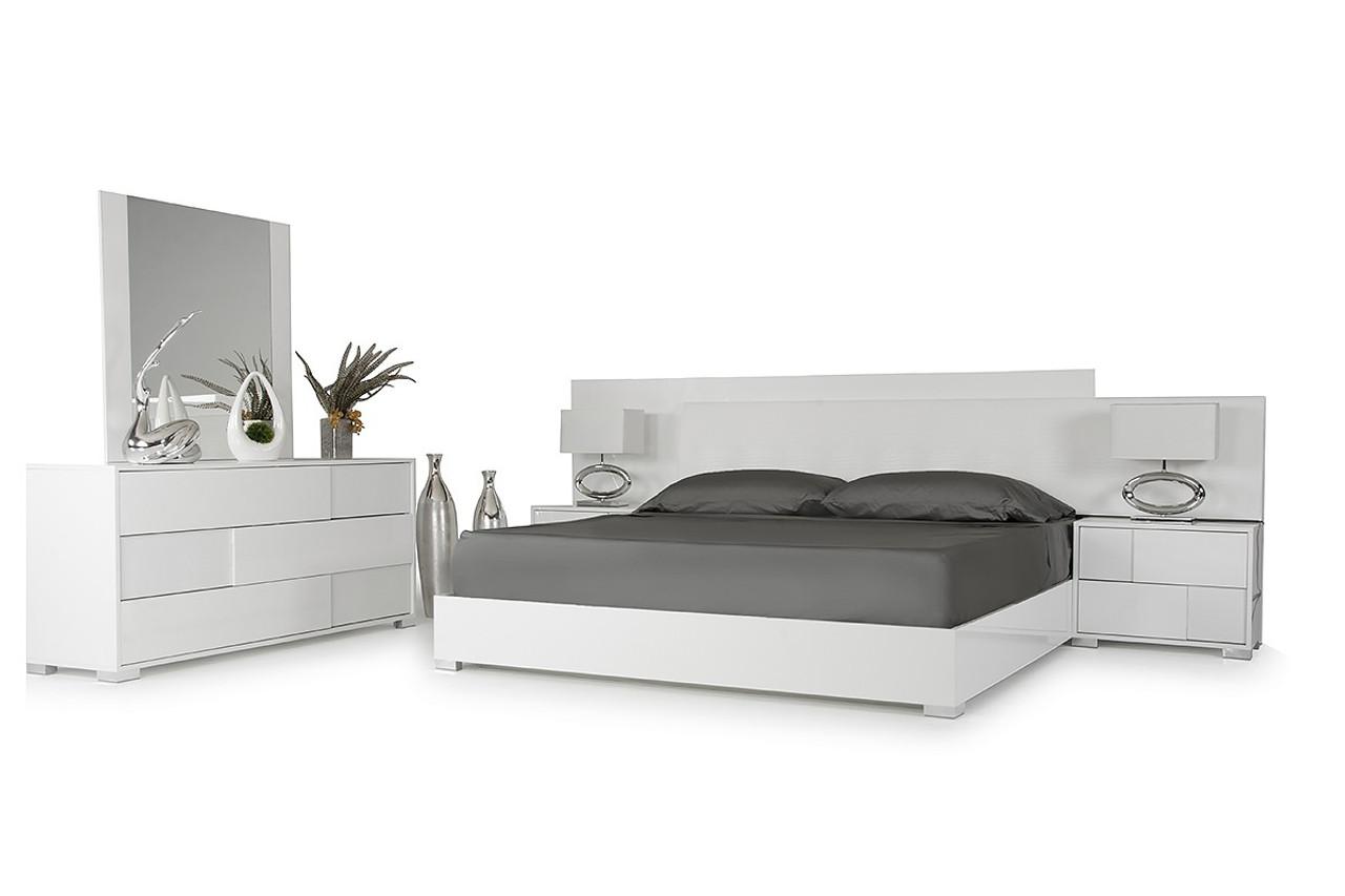 Modrest Monza Italian Modern White Queen Size Bedroom Set - Lounge LA