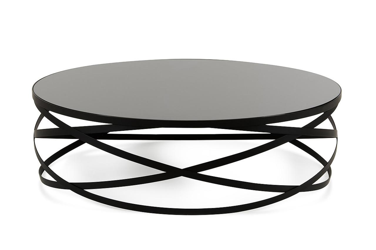 Picture of: Modrest Wixon Modern Black Round Coffee Table Lounge La