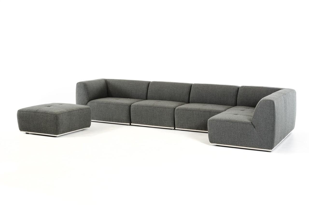 Enjoyable Divani Casa Hawthorn Modern Grey Fabric Sectional Sofa And Ottoman Dailytribune Chair Design For Home Dailytribuneorg